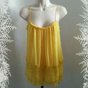 3.1 Phillip Lim yellow lace trim tank top
